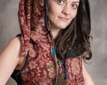 Pixie Hooded Waistcoat Elf Goa Corset Adjustable Hippy Psytrance Festival Top