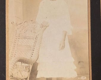 Vintage photograph of an Identified  Teen Girl Antique Cabinet Photo