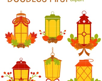 Autumn Lamps Digital Clip Art for Scrapbooking Card Making Cupcake Toppers Paper Crafts