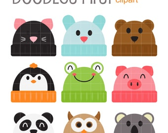 Animal Beanies Clip Art for Scrapbooking Card Making Cupcake Toppers Paper Crafts
