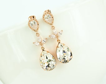 Rose Gold Bridal Earring Rose Gold Bridal Jewelry Rose Gold Bridesmaid Jewelry Rose Gold Jewellery Bridal Jewelry Blush Pink Bridal Jewelry