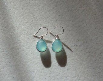 Aqua Blue Chalcedony Earrings, Mint Earrings, Chalcedony Earrings, Dangle Silver Chalcedony Earrings, Blue Gemstone Earrings, Dangle Earring