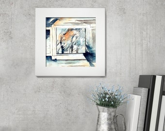 Original Watercolor Painting, Window and Trees Reflection, Watercolour Modern Art, Country