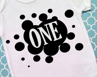 First Birthday ONE Shirt with Ink Splatter, Boys' First Birthday Shirt, Birthday ONE Shirt, Baby Boy Outfit, Photo Prop