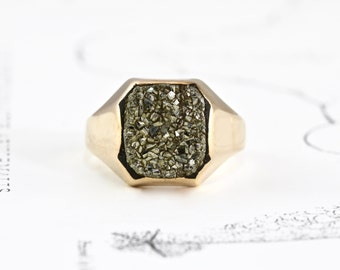 Victorian Pyrite Ring, Antique 10k Yellow Gold Signet Style, Gold Rush Souvenir, Boho Bohemian Rustic Statement Fools Gold Ring Jewelry