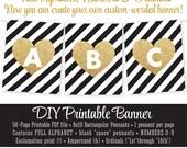Black White Gold Glitter Heart Pennant Banner - I Am 1 Birthday - Pop Fizz Clink, Bachelorette, Engagement Party Printable Banner ALPHABET