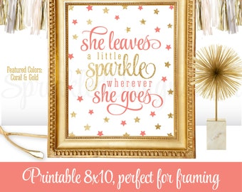 She Leaves A Little Sparkle Wherever She Goes - Coral Gold Printable Twinkle Twinkle Little Star Birthday Girl Nursery Decorations 8x10 Sign