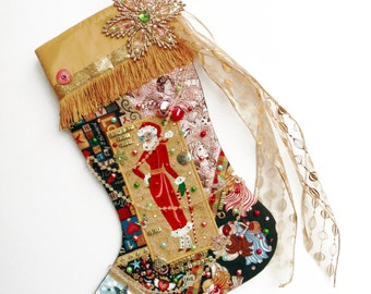 Mom Christmas stocking, a custom handmade one-of-a-kind holiday decoration for a woman or mother