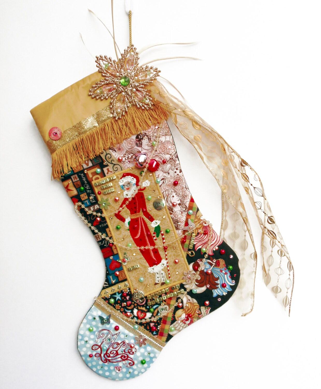 Mom christmas stocking a custom handmade one of a kind for Custom made christmas stockings