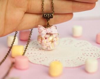 Marshmallow Bottle Globe Necklace / marshmallow jewelry / food jewelry / scented jewelry / fake food / romantic girly jewelry / kawaii