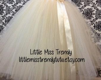 Long Ivory Tutu Skirt, Girls long tutu skirt, Ivory and Champagne Long tutu, Flower Girl Long tutu Skirt, Ivory Flower Girl Tutu Skirt