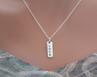 Sterling Silver Love Charm Necklace, Vertical Love Word Charm Necklace, Anniversary Love Necklace, Gift for Mom, Silver Love Necklace