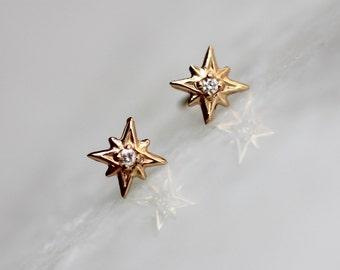 14k Gold Diamond North Star Studs, Diamond Studs, Diamond Earrings, Real Gold, Star Studs, Star Earrings