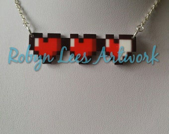 Gamer Heart Life Bar HP Printed Acrylic Necklace on Silver or Gold Crossed Chain