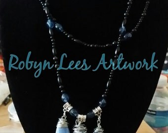 Sea Sediment, Jasper and Pyrite Crystal Beaded Double Tier Necklace with Mixed Shape Size Black Seed Beads and Blue Lampwork Beads