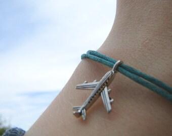 Plane bracelet travel bracelet - friendship bracelet adventure bracelet journey bracelet - cord bracelet boho bracelet surf bracelet