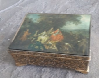 "Mid Century Schmid Bros ""Romeo and Juliet"" Music Jewelry Box"
