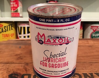Vintage Maxoil Metal Motor Gas Lubricant Can - Full