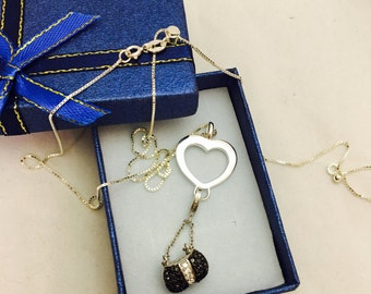 Sterling Silver Heart and Locket Purse Pendant Adjustable Length Necklace
