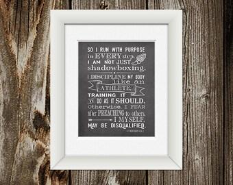 1 Corinthians 9:26-27 Scripture Art- DIGITAL FILE ONLY - So I run with purpose - Purpose Driven Life Scripture - Goal Oriented