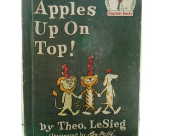 Vintage Ten Apples on Top by Theo. LeSieg, Theodore LeSieg, Dr Seuss, 1961, illustrated by Roy McKie, Beginner Books