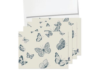 Card Set of 10 Folded - Butterfly Kisses - die cut butterfly, inspirational, boho-chic, recycled