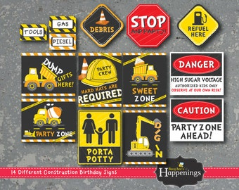 Construction Signs Construction Birthday Signs Construction Birthday Decoration Digital File by Busy bee's Happenings Instant Download