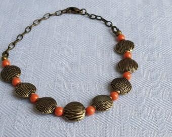 Swarovski Crystal Coral Pearl Vintage Antique Gold Bracelet