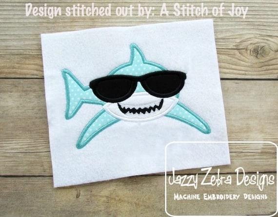 Cool Shark wearing Sunglasses Applique Embroidery Design - shark appliqué design - boy appliqué design - beach appliqué design - summer