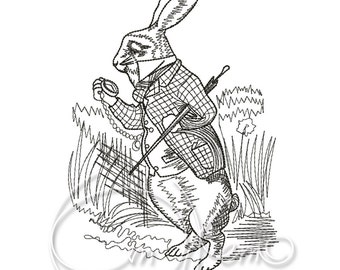 MACHINE EMBROIDERY DESIGN - White rabbit embroidery, Tea party embroidery, Alice in Wonderland embroidery