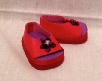 "18"" doll: Red peep toe shoes with a red flower detail"