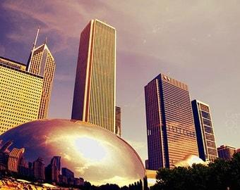 Chicago Print, The Bean, Cloud Gate, Millennium Park, Fine Art Photography, Chicago Skyline, Purple, Cream, Wall Art, Home Decor