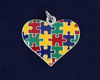 Autism Colored Puzzle Piece Heart Charm (RETAIL) (RE-CHARM-95-2)