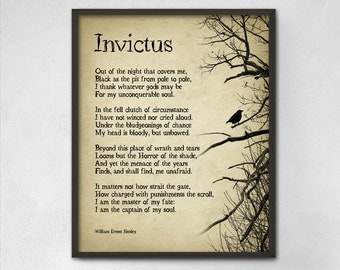 Invictus Poem by William Ernest Henley Typography Print - Inspirational Poster - Student Wall Poster - Dorm Decor - Sport Poetry Wall Art