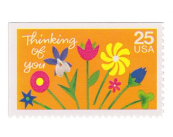 5 Unused US Postage Stamps - 1988 25c Thinking of You - Special Occasions Series - Item No. 2397