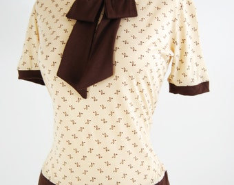 The Gretchen Vintage Style Secretary Blouse Retro Print in Butter S-2XL