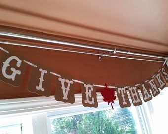 Give Thanks Banner, Fall Family Photo Prop, Thanksgiving Decoration, Fall Decor