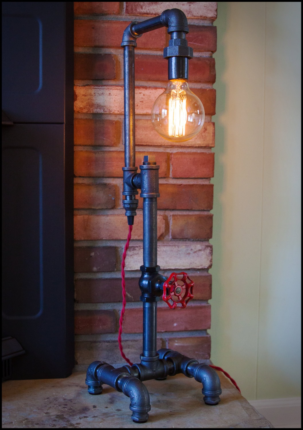 Pipe lamp with red stop valve onoff switch industrial table pipe lamp with red stop valve onoff switch industrial table lamp accent lamp edison bulb lamp man cave steampunk lamp factory geotapseo Images