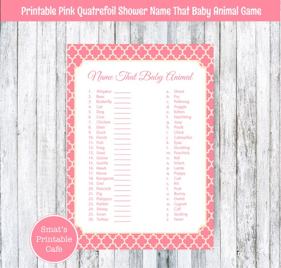 Baby Shower Game Name The Baby Animal: Pink Quatrefoil Baby Shower Baby Animal Name Game Quiz