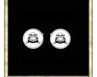 Shark Cufflinks- Silver Plated Cufflinks