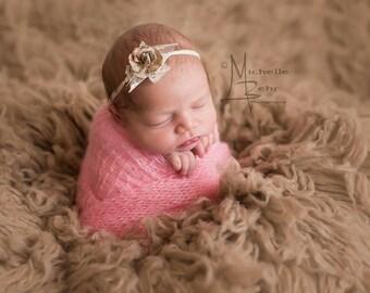 Newborn Tieback in Nuetral Shades/Nylon Tieback/Stunning Newborn Tie backs/Very Unique/Photo Prop/Infant Headband