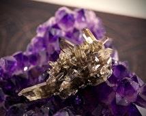 Rare Citrine with Black Tourmaline Geode- Positivity, Energy, Abundance