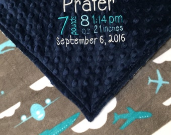 Navy Minky Blanket, Airplane Minky Blanket, Navy and Teal Blanket, Personalized, Birth Stats Blanket
