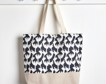 Black and White Twigs Reusable Grocery Bag, Market Tote Bag by Made on Main VT
