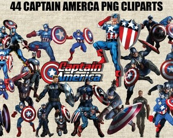 Captain America, The First Avenger 44 Images in 300 PPI PNG Transparent Background, Printable Digital Graphics
