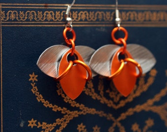 Orange and Silver Tri-Scale Earrings