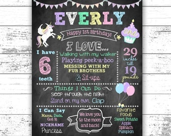 Unicorn First Birthday Chalkboard - Personalized Chalkboard - Any Age - 1st Birthday Photo Prop - Pastels - Digital File