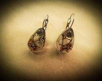 """Steampunk earrings """"Mechanical spring"""" series"""