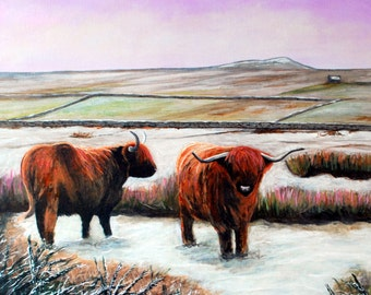 A Highland Winter. Highland Cow Print. Heelan' Coo Print. Replica of Highland Cow Painting. Scottish Highlands Art.