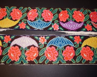 Vintage USED Needlepoint Strips Trim from Chilon Chiapas Mexico Floral Ethnic Textiles Collectable Women's Cooperative Traditional Handmade